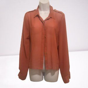 Mine by Anthropologie Sheer Button Up Blouse
